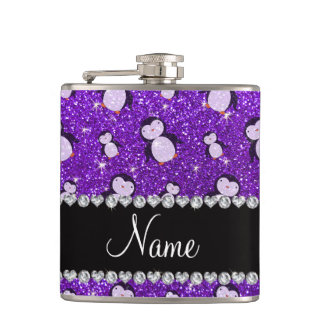 Personalized name indigo purple glitter penguins hip flask