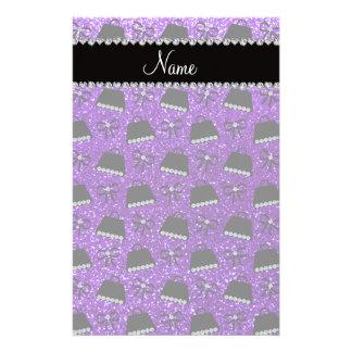 Personalized name indigo purple glitter purses bow customised stationery