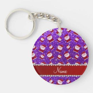 Personalized name indigo purple glitter santas key chain