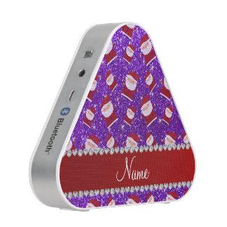 Personalized name indigo purple glitter santas speaker