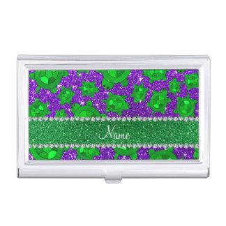 Personalized name indigo purple glitter sea turtle business card holder