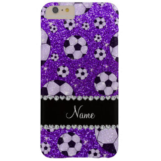 Personalized name indigo purple glitter soccer barely there iPhone 6 plus case
