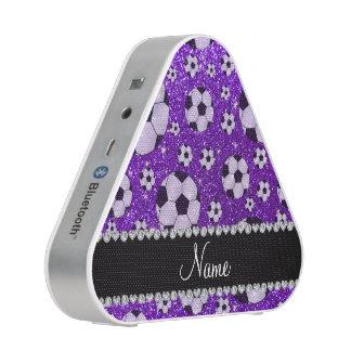 Personalized name indigo purple glitter soccer speaker