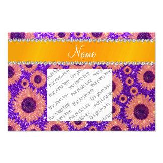 Personalized name indigo purple glitter sunflowers photo print