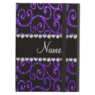 Personalized name indigo purple glitter swirls iPad air case