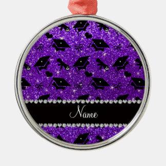 Personalized name indigo purple graduation hearts Silver-Colored round decoration