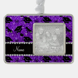 Personalized name indigo purple graduation hearts silver plated framed ornament