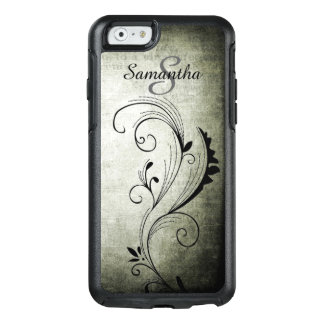 Personalized Name & Initial Black Swirls - OtterBox iPhone 6/6s Case