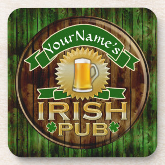 Personalized Name Irish Pub Sign St. Patrick's Day Beverage Coasters
