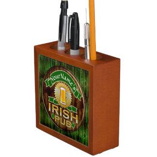 Personalized Name Irish Pub Sign St. Patrick's Day Pencil/Pen Holder