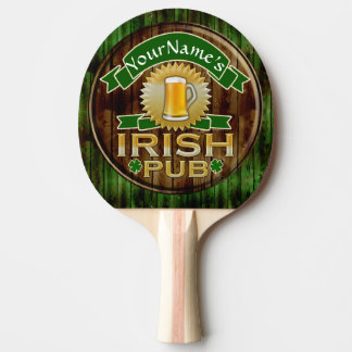 Personalized Name Irish Pub Sign St. Patrick's Day Ping Pong Paddle