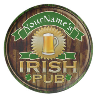 Personalized Name Irish Pub Sign St. Patrick's Day Party Plates