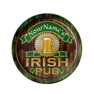 Personalized Name Irish Pub Sign St. Patrick's Day Porcelain Plates