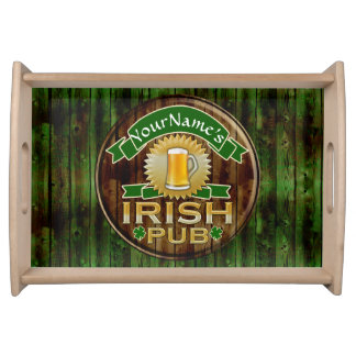 Personalized Name Irish Pub Sign St. Patrick's Day Service Tray
