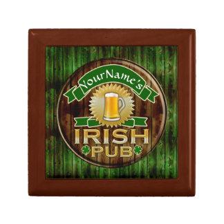 Personalized Name Irish Pub Sign St. Patrick's Day Small Square Gift Box
