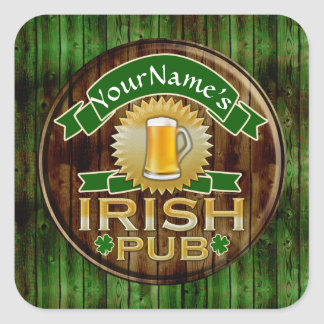 Personalized Name Irish Pub Sign St. Patrick's Day Square Stickers