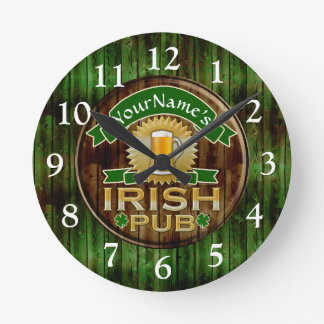 Personalized Name Irish Pub Sign St. Patrick's Day Wall Clocks