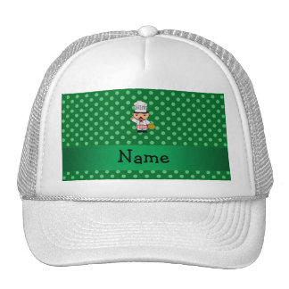 Personalized name italian chef green polka dots trucker hat