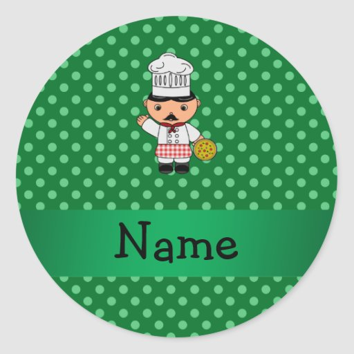 Personalized name italian chef green polka dots stickers