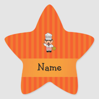 Personalized name italian chef orange stripes star stickers