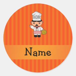 Personalized name italian chef orange stripes round sticker
