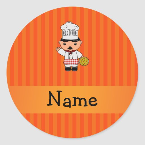 Personalized name italian chef orange stripes round sticker