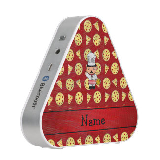 Personalized name italian chef red pizza pattern bluetooth speaker