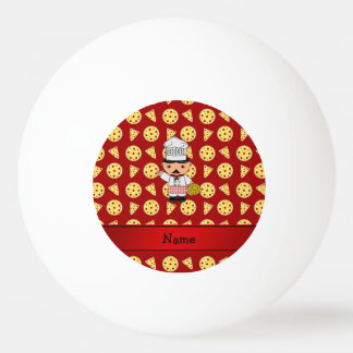 Personalized name italian chef red pizza pattern ping pong ball