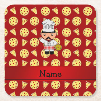 Personalized name italian chef red pizza pattern square paper coaster