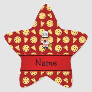 Personalized name italian chef red pizza pattern star sticker