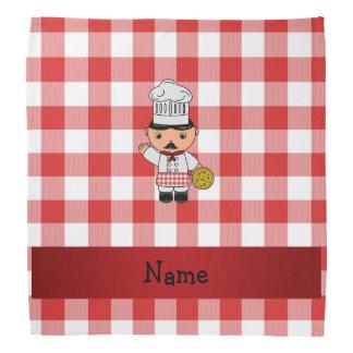 Personalized name italian chef red white checkers bandana