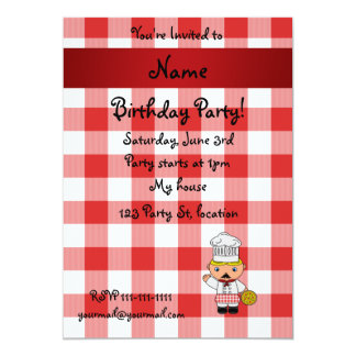 Personalized name italian chef red white checkers 5x7 paper invitation card