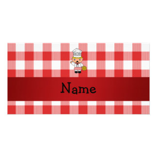 Personalized name italian chef red white checkers photo card