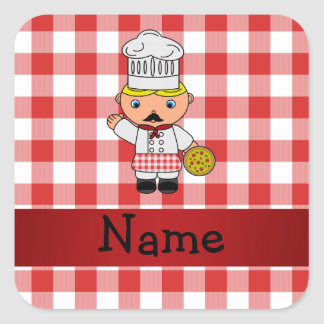 Personalized name italian chef red white checkers stickers