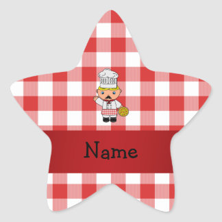 Personalized name italian chef red white checkers star sticker