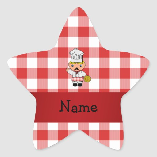 Personalized name italian chef red white checkers star sticker