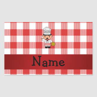 Personalized name italian chef red white checkers rectangle sticker