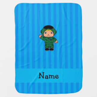 Personalized name jet pilot blue stripes baby blanket