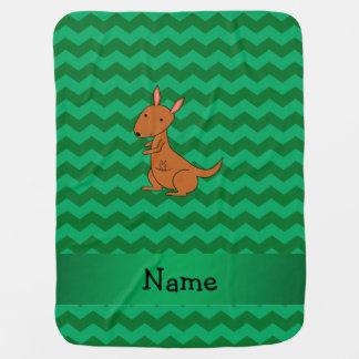 Personalized name kangaroo green chevrons baby blanket