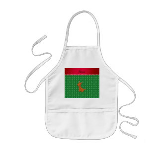 Personalized name kangaroo green christmas trees kids apron