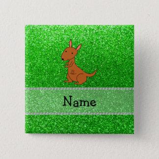 Personalized name kangaroo green glitter 15 cm square badge