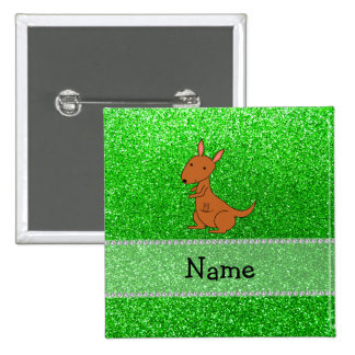 Personalized name kangaroo green glitter 15 cm square badge