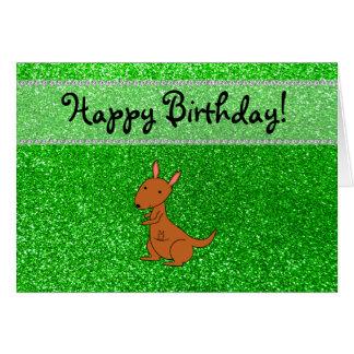 Personalized name kangaroo green glitter card