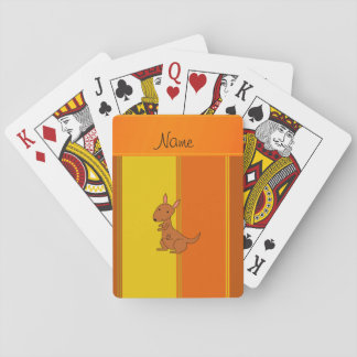 Personalized name kangaroo orange yellow stripes poker deck
