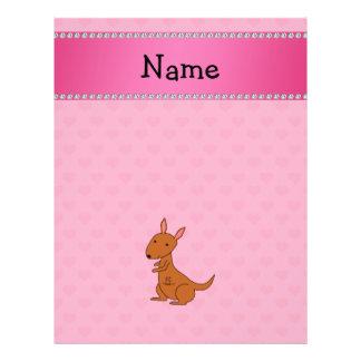 Personalized name kangaroo pink hearts flyer