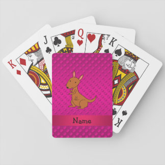 Personalized name kangaroo pink polka dots playing cards