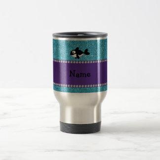 Personalized name killer whale blue glitter coffee mug