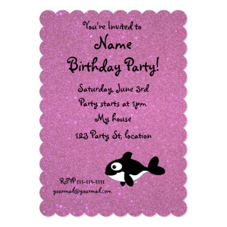 "Personalized name killer whale pink glitter 5"" x 7"" invitation card"