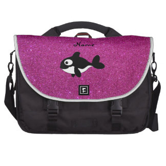 Personalized name killer whale pink glitter laptop commuter bag