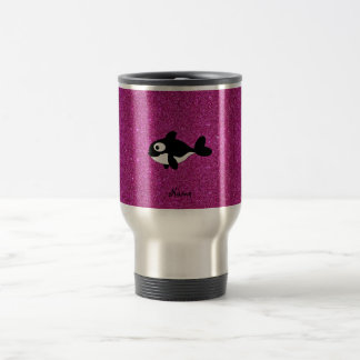 Personalized name killer whale pink glitter coffee mugs